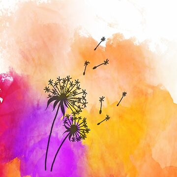Make a WIsh | Dandelion on Watercolor Background by PraiseQuotes