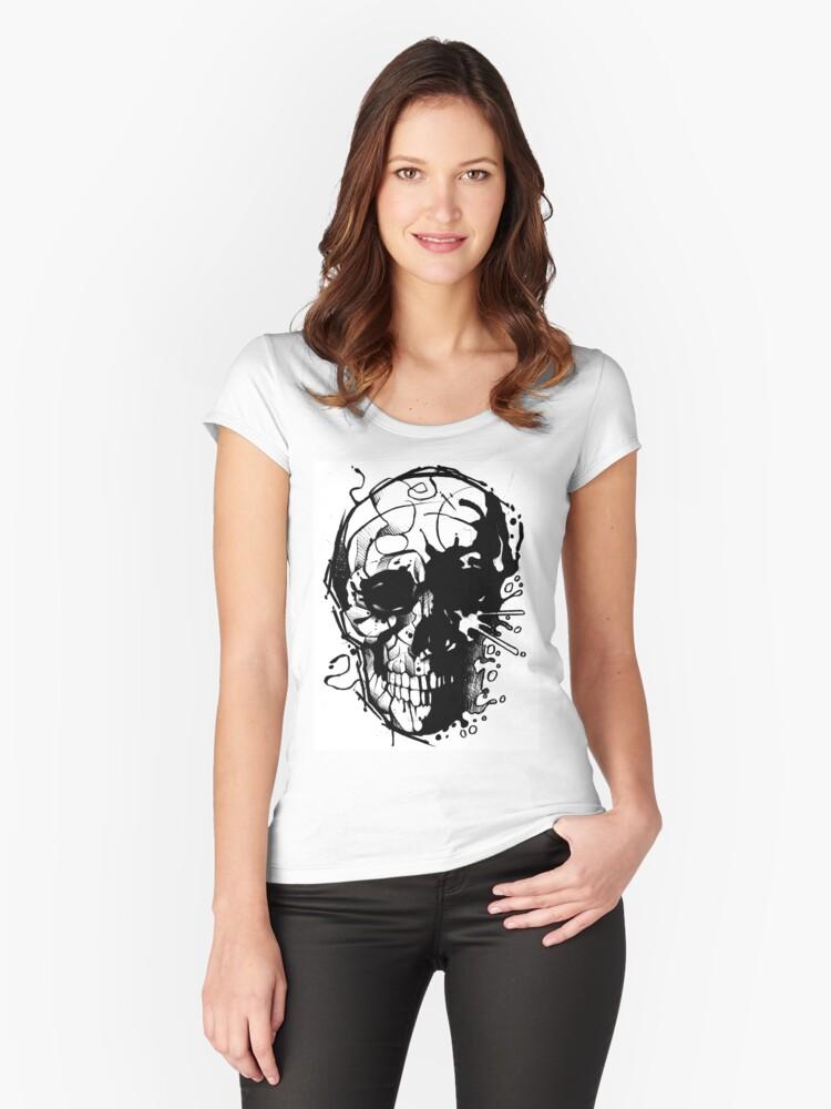 Splatter Skull Women's Fitted Scoop T-Shirt Front