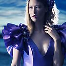 Beautiful blond woman in blue dress beauty portrait art photo print by ArtNudePhotos