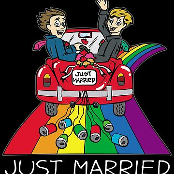 JUST MARRIED Gay Marriage Queer Homo LGBT by Moonpie90