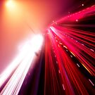 Highway traffic colorful light trails on a foggy night art photo print by ArtNudePhotos