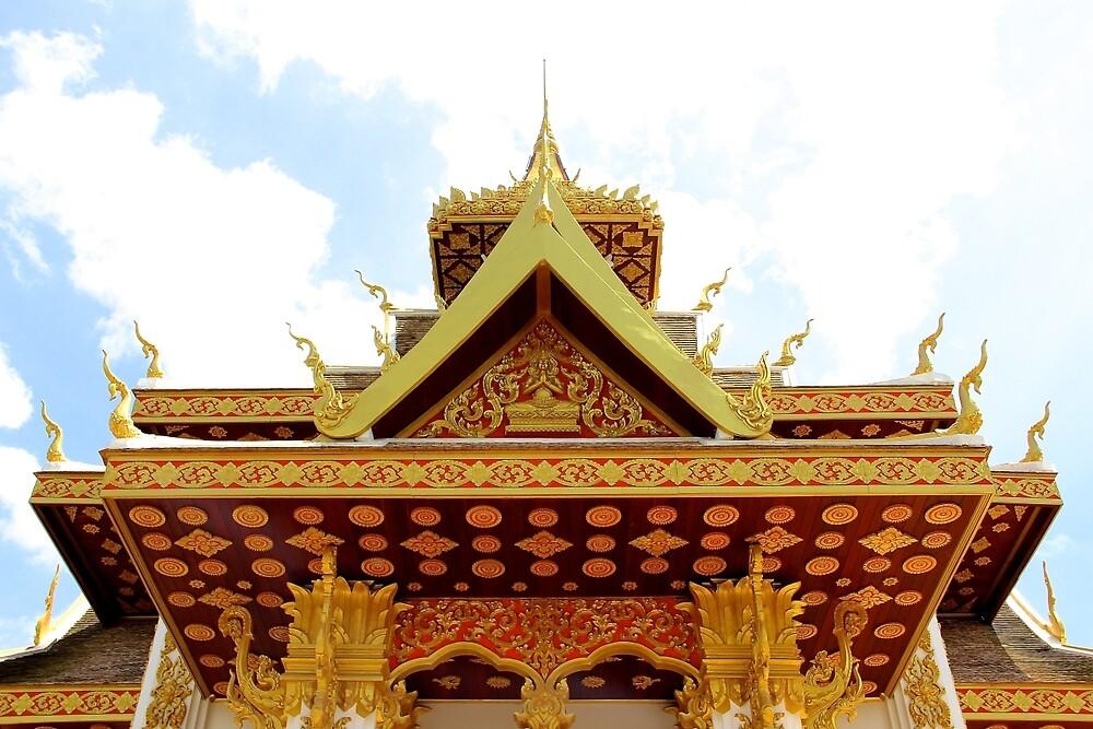 Shiny Wat II - Vientiane, Laos. by Tiffany Lenoir