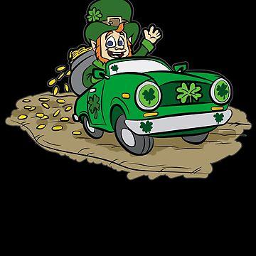 ST PATRICKS DAY CAR WITH GOLD Leprechaun Irish by Moonpie90