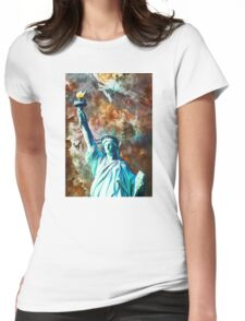 Statue Of Liberty - She Stands by Sharon Cummings Womens Fitted T-Shirt