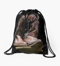 Cowboy Boots on a Barrel Drawstring Bag