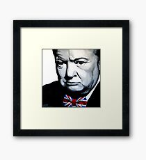 Sir Winston Churchill with Union Jack bow-tie Framed Print