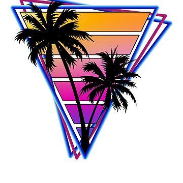 Retrowave style palm tree sunset by BrobocopPrime