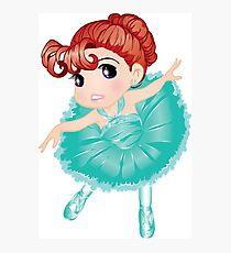 Cute Little Blue Vector Ballerina Photographic Print