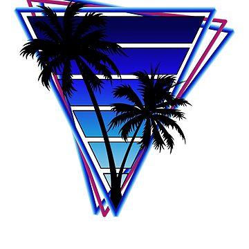 Retrowave style palm tree sunset Blue by BrobocopPrime