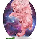 Löwe trifft Gurke mit himmlischem Hintergrund von Lavinia Knight