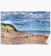 Beach Under Cloudy Skies Poster
