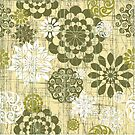 Abstract Floral Circles Yellow by SpiceTree