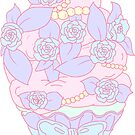 Pastel Blue Floral Cupcake by aidadaism