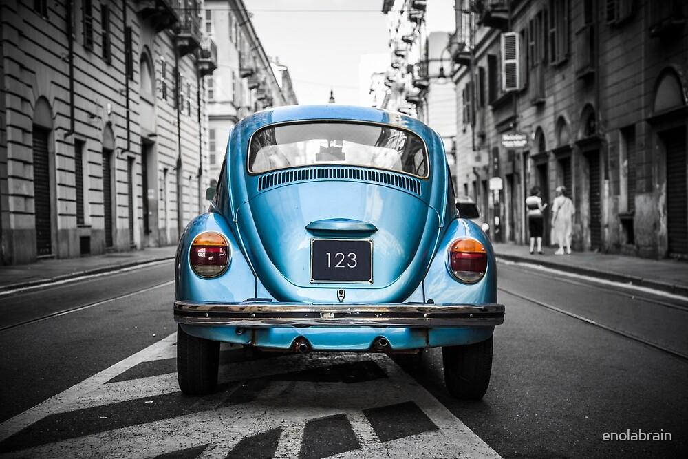 Old blue car by enolabrain