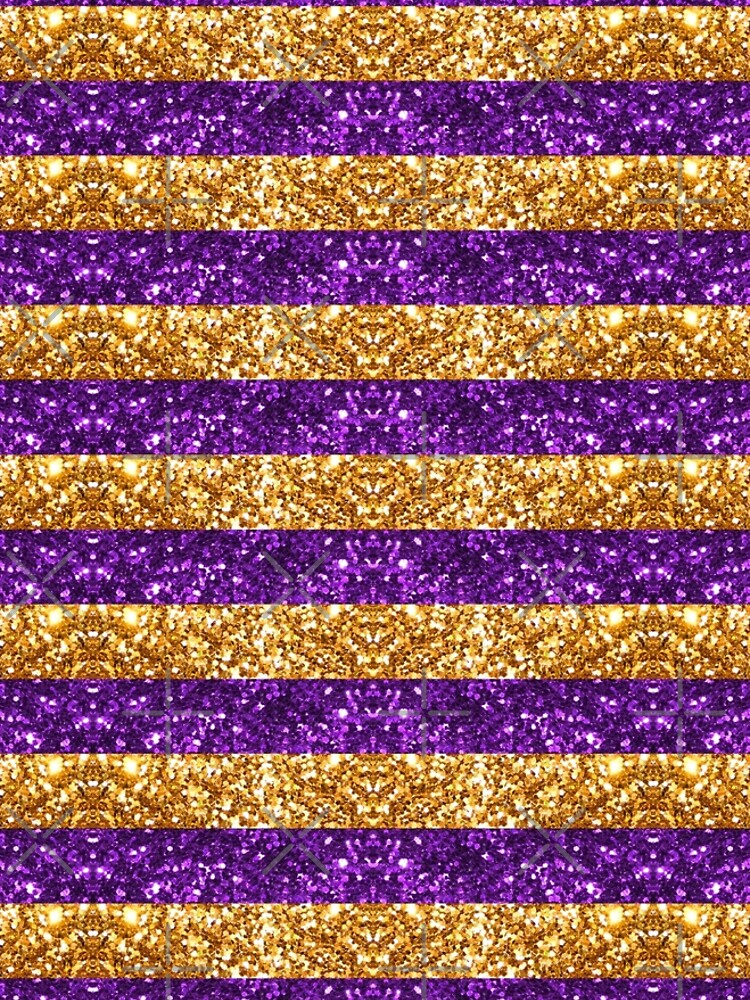 Purple and Gold Glitter Stripes Baton Rouge New Orleans Nola Louisiana Los Angeles California  by StudioBlack