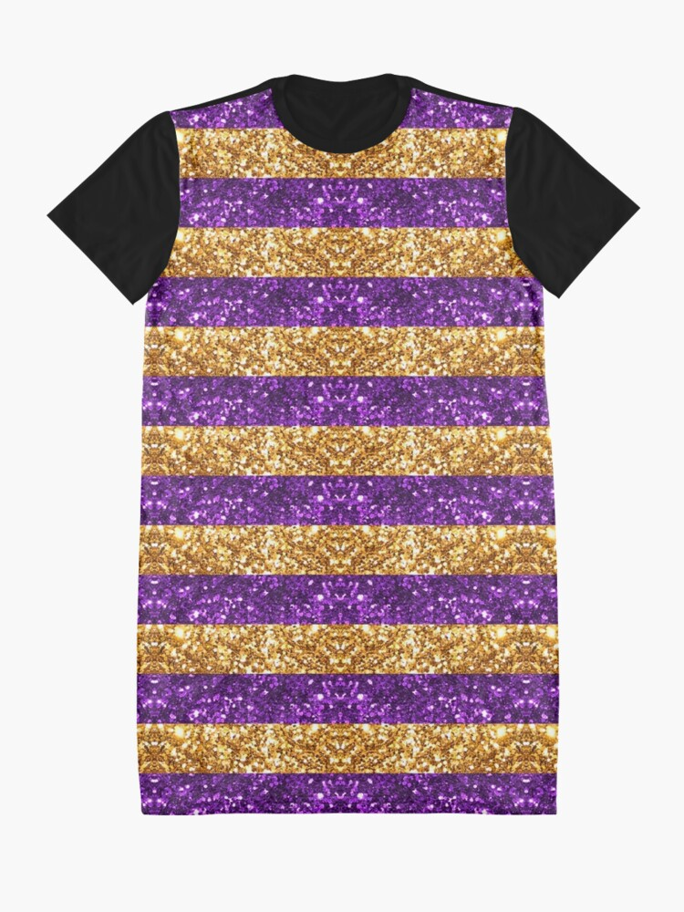 Alternate view of Purple and Gold Glitter Stripes Baton Rouge New Orleans Nola Louisiana Los Angeles California  Graphic T-Shirt Dress