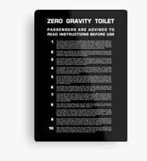 Zero Gravity Bathroom - Full (white text) Metal Print