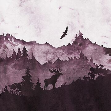 Forest Scene | Watercolor Violet Foggy Landscape by PraiseQuotes