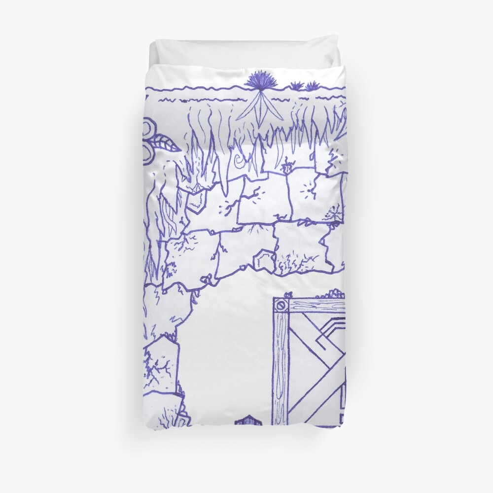 Merch #29 -- Crate Beneath The Crumbling Cliff Duvet Cover