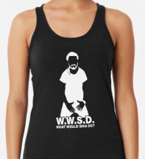 Camiseta con espalda nadadora ¿Qué haría Shia LaBeouf? BLANCO
