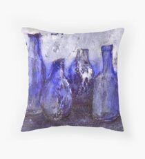 blue bottles Throw Pillow