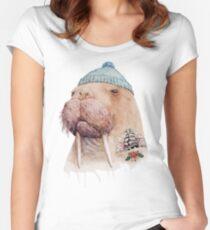 Tätowiertes Walross Tailliertes Rundhals-Shirt