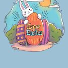 Happy Easter | Bunny Hiding His Eggs by Weldon Fultz