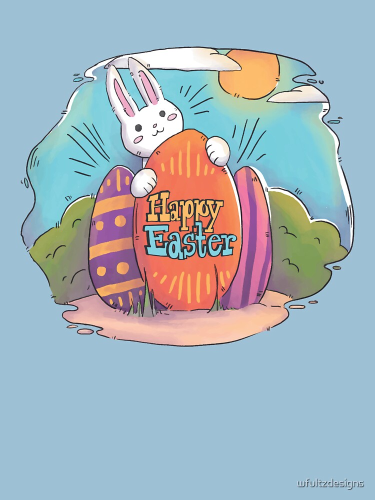 Happy Easter | Bunny Hiding His Eggs by wfultzdesigns