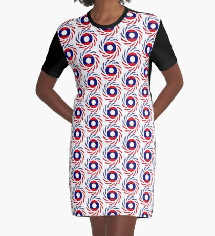 Lao American Multinational Patriot Flag Series Graphic T-Shirt Dress