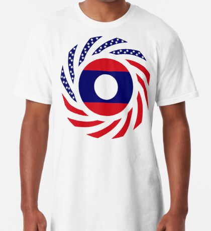 Lao American Multinational Patriot Flag Series Long T-Shirt
