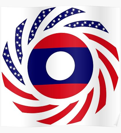 Lao American Multinational Patriot Flag Series Poster