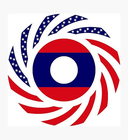 Lao American Multinational Patriot Flag Series Photographic Print