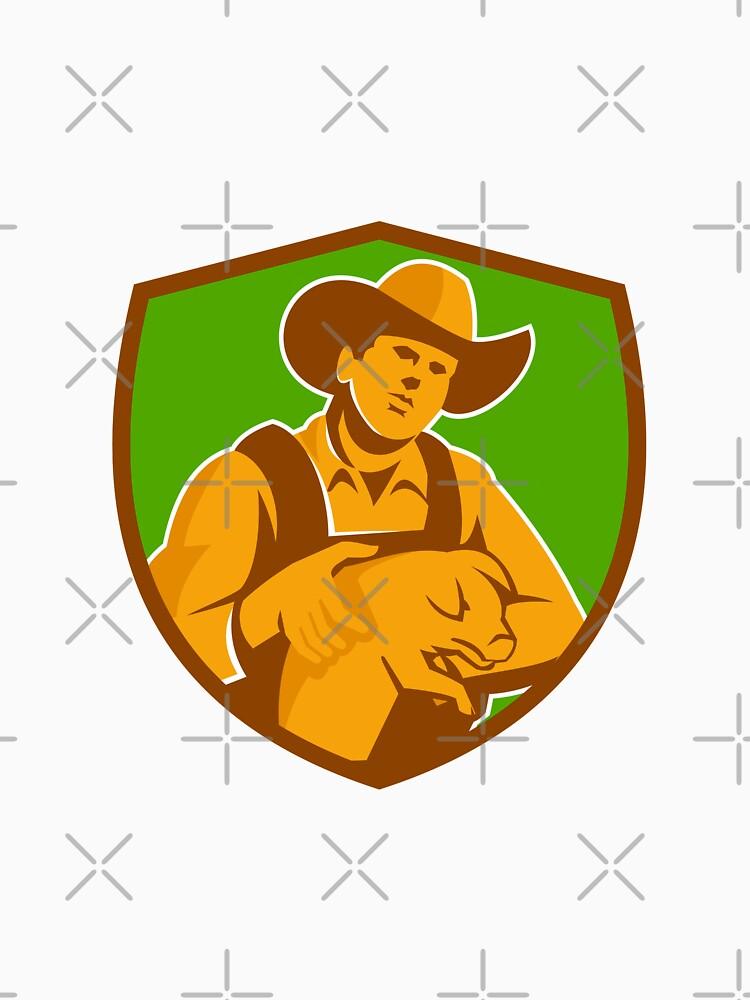 Pig Farmer Holding Piglet Front Shield Retro by patrimonio