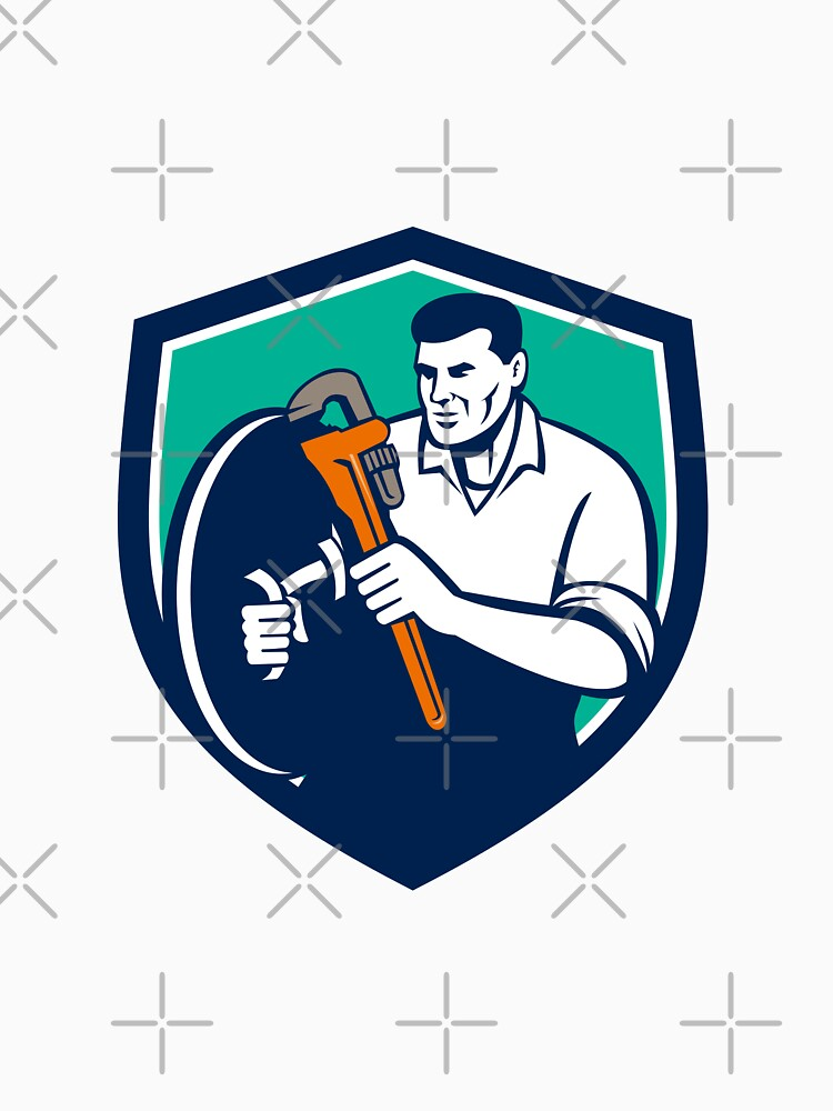 Plumber Brandishing Wrench Shield Retro by patrimonio