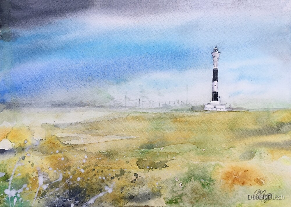 Watercolour Painting of Dungeness Lighthouse