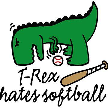 T-Rex hates softball  player dinosaur softballer by LaundryFactory