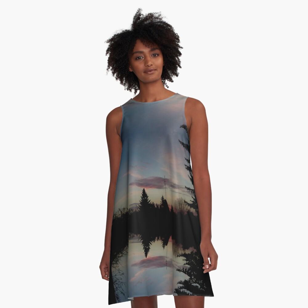 Kleid Sonnenhorizont Spiegelung Ufowolke A-Linien Kleid Vorne