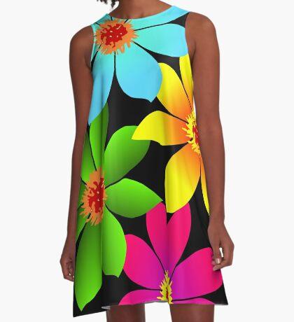 bunte Blumen, Blüten, farbenfroher Blumenstrauß A-Linien Kleid