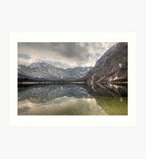 Reflections of an Alpine lake Art Print