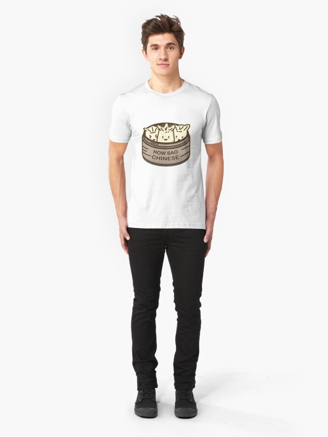 Alternate view of How Bao Chinese? Slim Fit T-Shirt