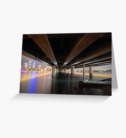 Under the Gold Coast bridge at night Greeting Card
