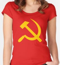 Communism - Soviet Union - Hammer Sickle Star Women's Fitted Scoop T-Shirt
