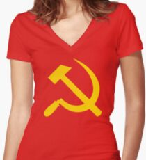 Communism - Soviet Union - Hammer Sickle Star Women's Fitted V-Neck T-Shirt