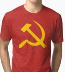 Communism - Soviet Union - Hammer Sickle Star Tri-blend T-Shirt