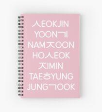 BTS Mitglieder (hangul) - Rosa Version. Spiralblock