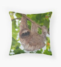 Brown throated sloth in the jungle Throw Pillow