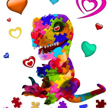 Puzzle Dino with Hearts - Autism Awareness by peaktee