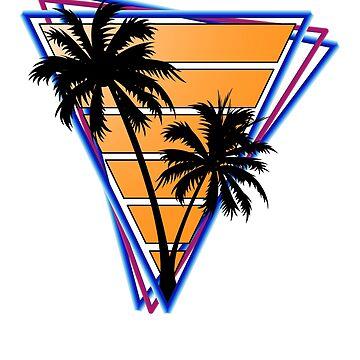 Retrowave style palm tree sunset Orange by BrobocopPrime