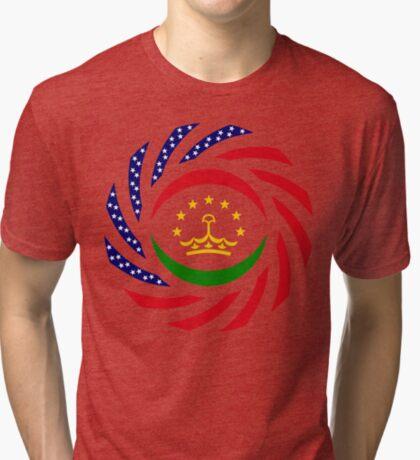 Tajik American Multinational Patriot Flag Series Tri-blend T-Shirt
