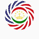 Tajik American Multinational Patriot Flag Series by Carbon-Fibre Media